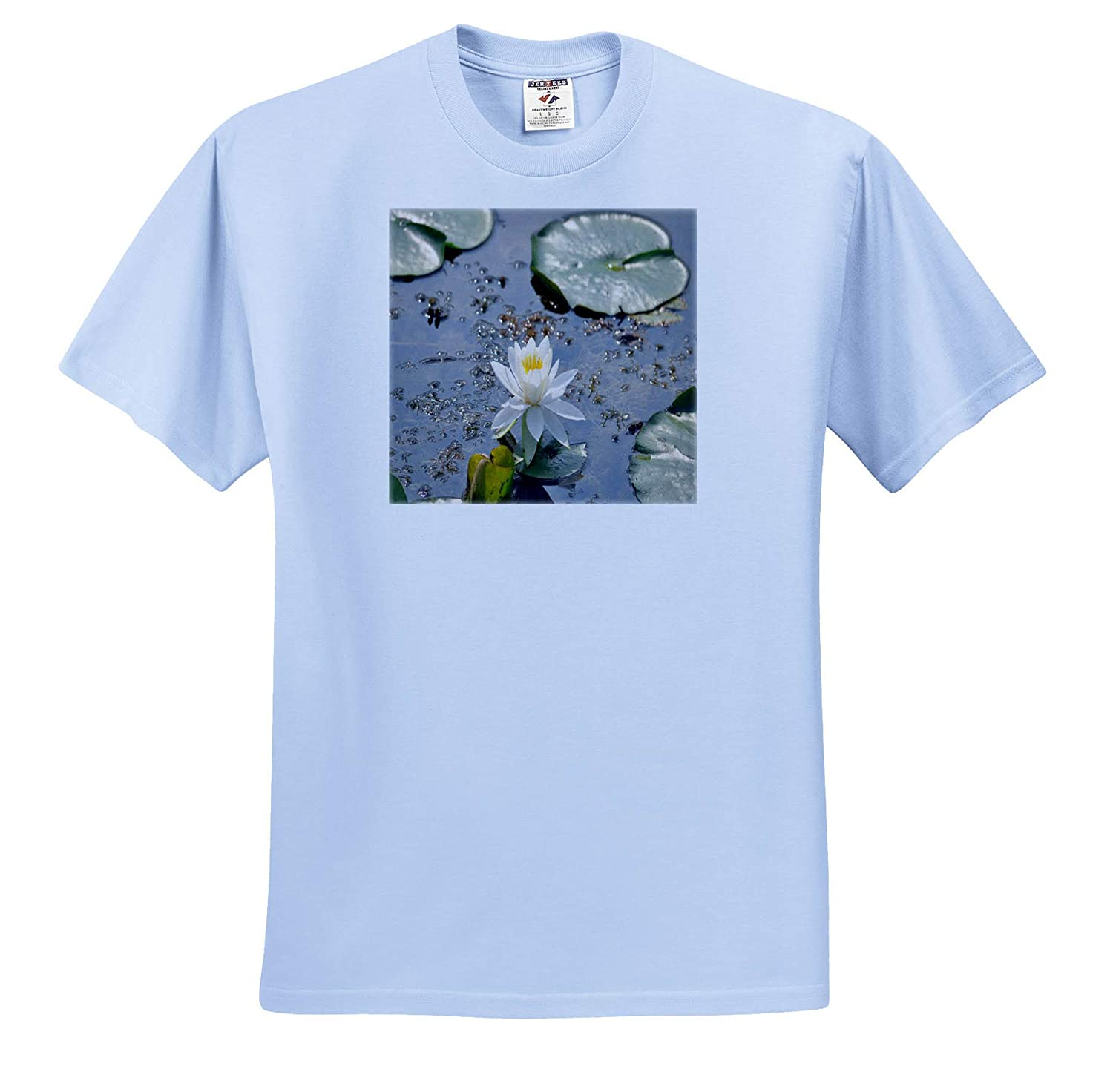 Flowers Adult T-Shirt XL ts/_314262 Lily Pad and Lily Flower 3dRose Dreamscapes by Leslie