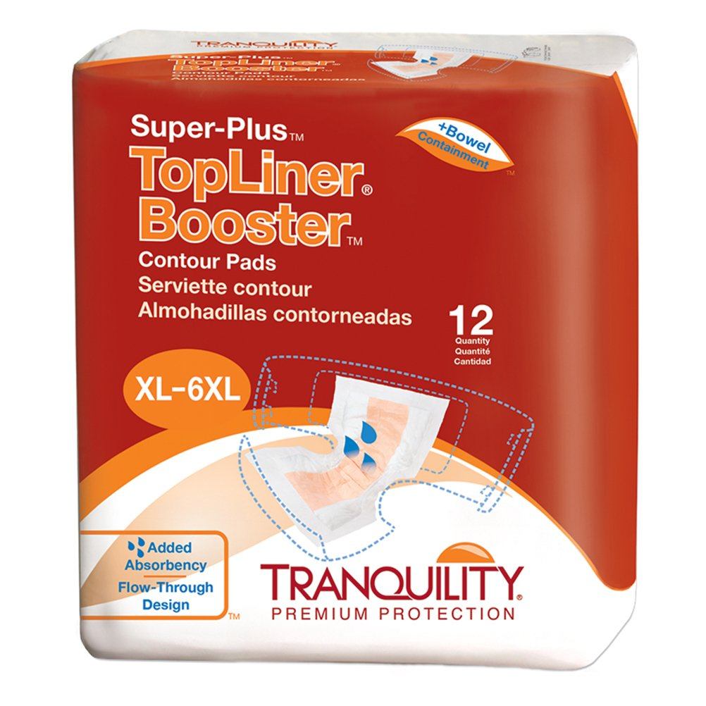 "Tranquility TopLiner® Disposable Absorbent Booster Contour Pads for Bowel Incontinence - Super-Plus (32"" x 14"") - 96 ct"