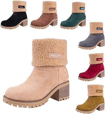 Bottes Hiver Femme Boots Daim Mi Botte à Talon Bloc Bottine Fourrées Chaudes Chaussures Neige Noir Jaune Rouge Marron EU 35 43