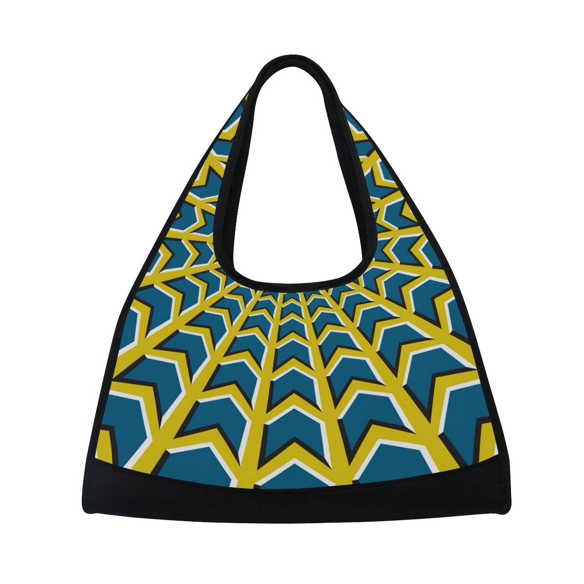 AHOMY Canvas Sports Gym Bag Colorful Ring Grid Pattern Travel Shoulder Bag