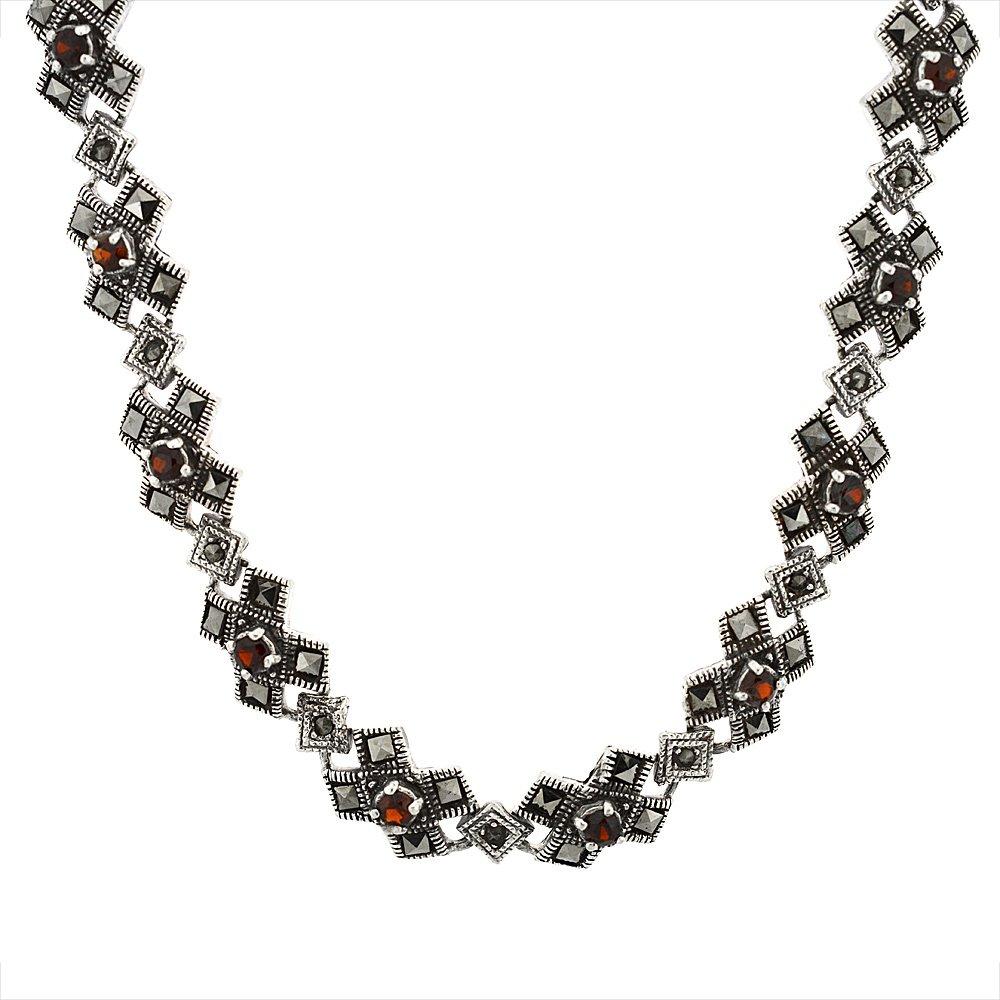 Sterling Silver Cubic Zirconia Garnet Kiss Necklace, 16 inch long