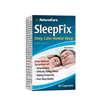 NaturalCare SleepFix Sleep Aid | Non Habit Forming Homeopathic Supplement for Sleepless Nights | Melatonin &