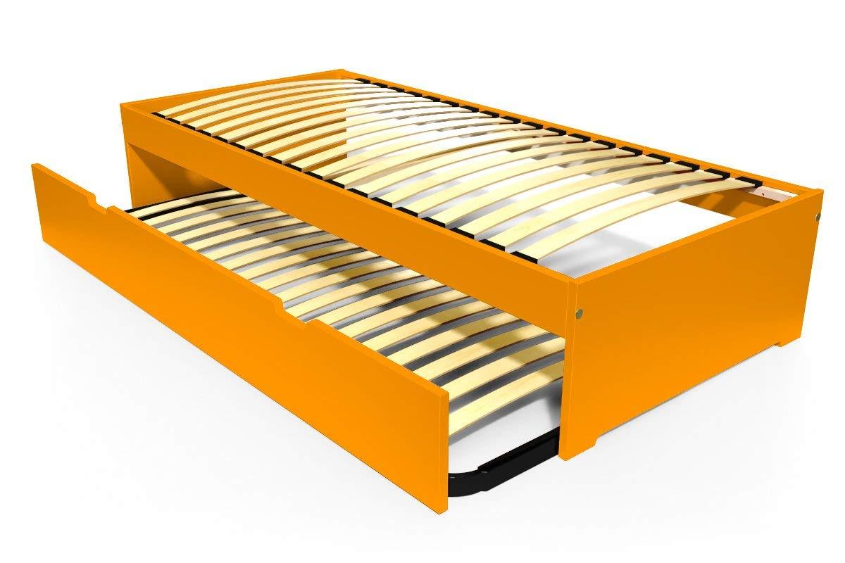 ABC MEUBLES - Ausziehbett Malo 90x190 cm Holz - TOPMALO90 - Orange, 90x190