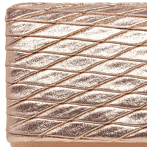 TA396 CASPAR Lozenge Pattern Gold Modern with Evening Elegant Rose Clutch Bag Ladies Glitter dCarHCT