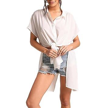 LILICAT® Tops de mujer blusa 2018 Moda Casual de manga corta Tops de botón con
