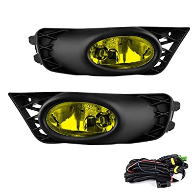 Driving Fog Lights Lamps Replacement for Honda Civic Sedan 2009 2010 2011 with H11 12V 55W Halogen Bulbs & Switch and Wiring Kit (Yellow Lens): Automotive