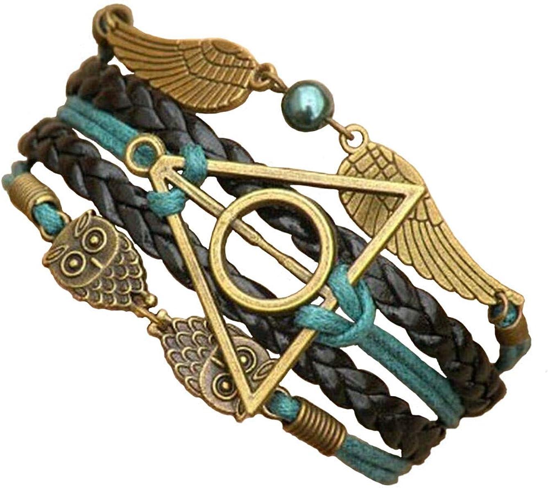 Joyplancraft Multistrand Bracelet Owl Wings Bracelet, Teal Rope Bracelet,Friendship Bracelet