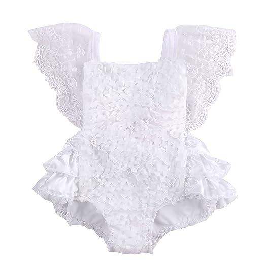 47b91e1a92f1 Amazon.com  Infant Baby Girls White Lace Romper Ruffle Sleeve Princess  Bodysuit Sunsuit Outfit  Clothing