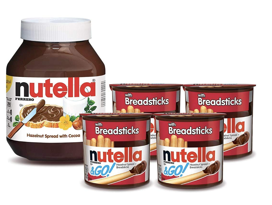 Nutella and Nutella and Go Bundle, 4 Count Chocolate Hazelnut Spread Snack Packs with Breadsticks and 35.3 oz Bulk Nutella Jar, Perfect for Weekend Breakfast and Kids' Lunch Box Snacks