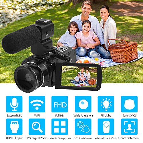 Video Camera, LAKASARA Full HD 1080P 30FPS WIFI Camera Camcorder DVR with External Microphone and Wide Angle Lens by LAKASARA (Image #1)