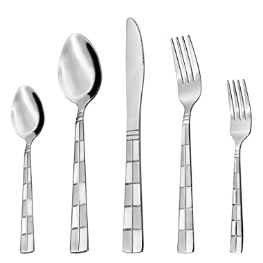 40 Piece Silverware Set, Checkered Frost Stainless Steel Flatware set Service for 8 by Hippih, Dishwasher Safe
