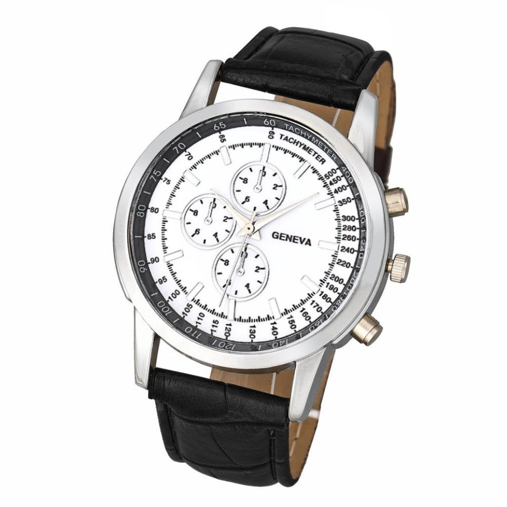 Hemlock Men's Round Quartz Dial Business Watch PU Leather Band Silver Watches