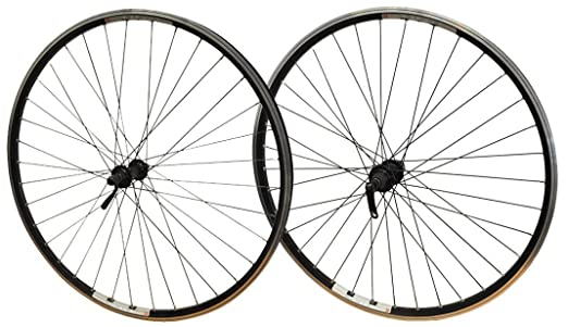 700c Hybrid Bike Wheels Pair Mach 240 All Black Eyeletted Rims