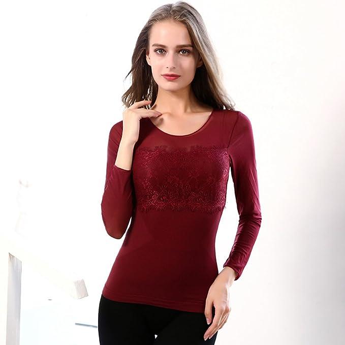 WanYang Mujeres Camisas de Mujer Vestir Camisas Largas Camisas Blusas Cuello Redondo Camiseta de Invierno Caliente