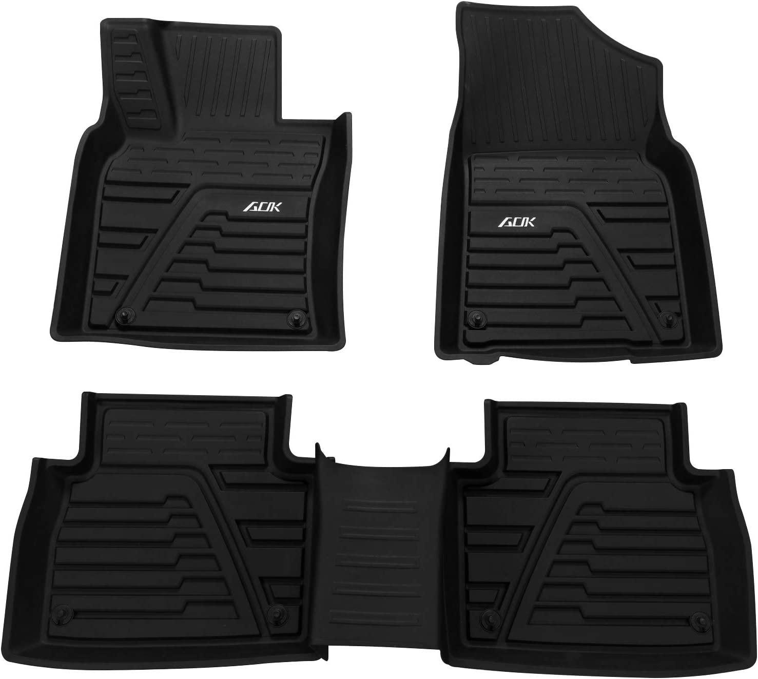 Auxko Floor Liners Compatible with Toyota Camry 2019+ Custom Fit Liners Front /& 2nd Seat Floor Mats with All-Weather Protection Durable and Non-Slippery Black TPE