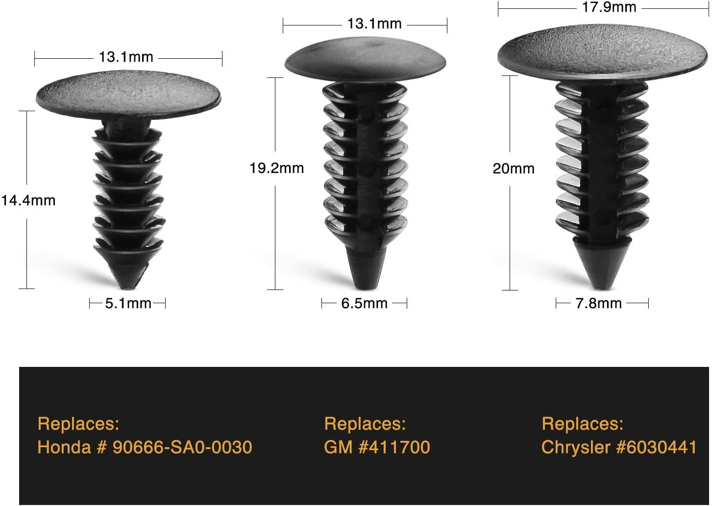 "50 Nylon Shield Retainers 1//4/"" = 6.3 MM Replaces Universal Fits Chrysler 6030441"