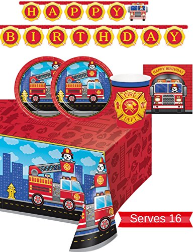 Fire Truck Table - Fire Truck Party Supplies - Plates, Napkins, Cups, Tablecloth and Banner for 16 People - Firefighter Party Decorations - Perfect for Fireman Birthday Party!
