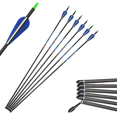 "Archery Hunting 31/"" Pure Carbon Arrow Compound Recurve Bow Field Point Broadhead"