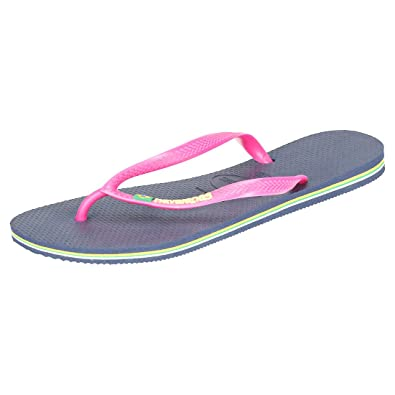 9551ad9fe8051 Havaianas Women s Slim Brasil Logo Flip Flops  Amazon.co.uk  Shoes ...
