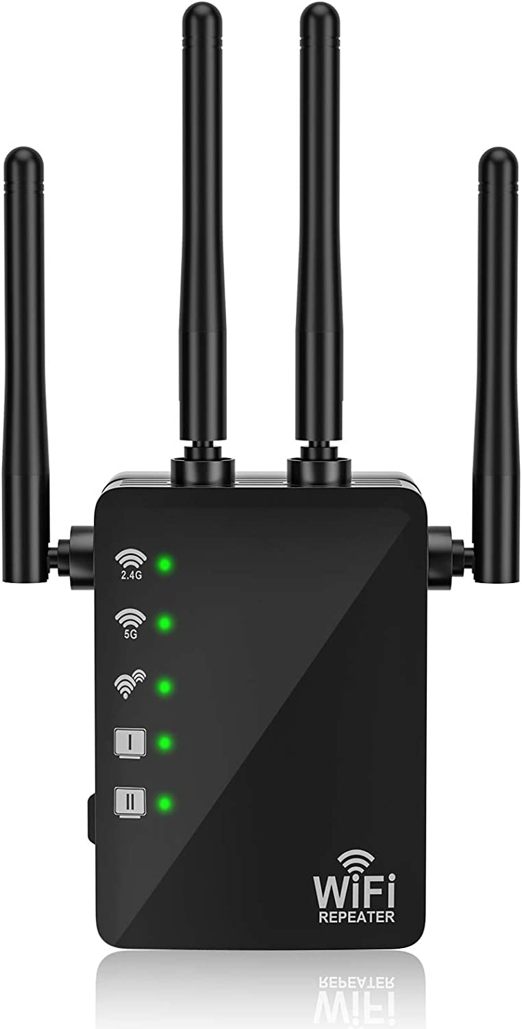 WiFi Range Extender-2.4 & 5GHz Dual Band Wireless Repeater,1200Mbps WiFi Extenders Signal Range Booster for Home, with 2 Ethernet Port, 4 Antennas Wi-Fi Signal Amplifier