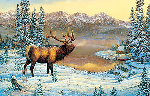 Elk By The Cabin 1000 Piece Jigsaw Puzzle by SunsOut