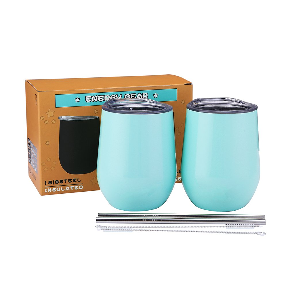 Wine Tumbler with Lid Stemless Vacuum Cup with Straw 12oz Unbreakable Double Wall Insulation Glass Travel Cup for Home Outdoor Coffee Champagne Beer Drinks SSCX01