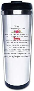 Wedding gift for Daughter In Law bride from Mother In Law, brown and blond hair color, Travel Mug Tumbler With Lids Thermos Coffee Cup Vacuum Insulated Flask Stainless Steel Hydro Water Bottle 15 oz