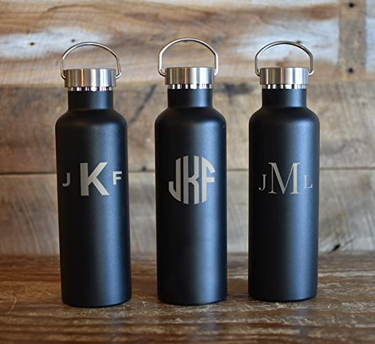 ... ounces (750ml) Premium Double Wall Insulated Vacuum Elemental Bottle | Groomsmanu0027s Gifts | Best Manu0027s Gift | Bachelor Party Gifts | House Warming Gifts & Amazon.com: Classic Monogram Insulated Bottles - 25 ounces (750ml ...
