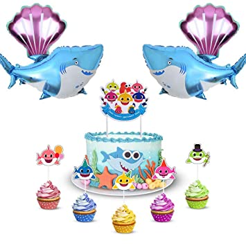 Baby Cute Shark Party Decorations Includes 1 Big Cake Topper 25 Cupcake Toppers 2