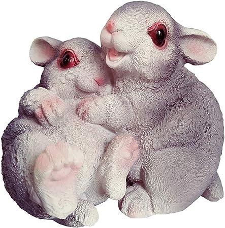 Estatua de Animal Conejo 3D Animales Decoración Figuras Grandes Jardín Exterior Decoración - Abrazar a gray: Amazon.es: Hogar