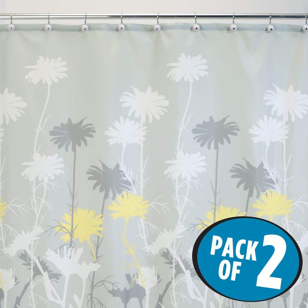 Pack of 2 for Bathroom Showers Machine Washable- 72 x 72 mDesign Decorative Floral Print Easy Care Fabric Shower Curtain with Reinforced Buttonholes Stalls and Bathtubs Gray//White//Yellow