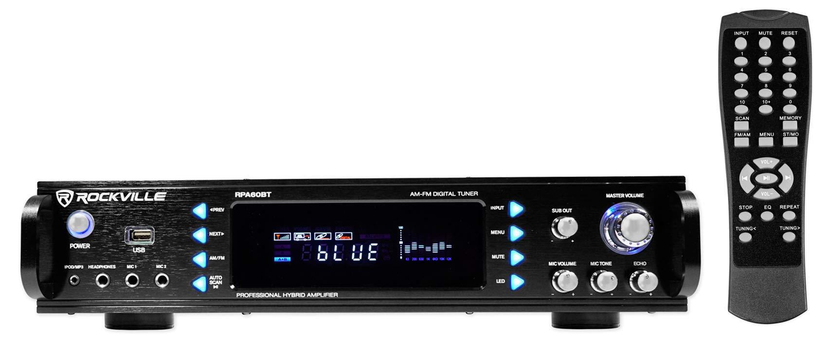 Rockville 1000w 2-Ch USB Bluetooth DJ/Pro/Karaoke Amplifier Mixer, 19 inch (RPA60BT)