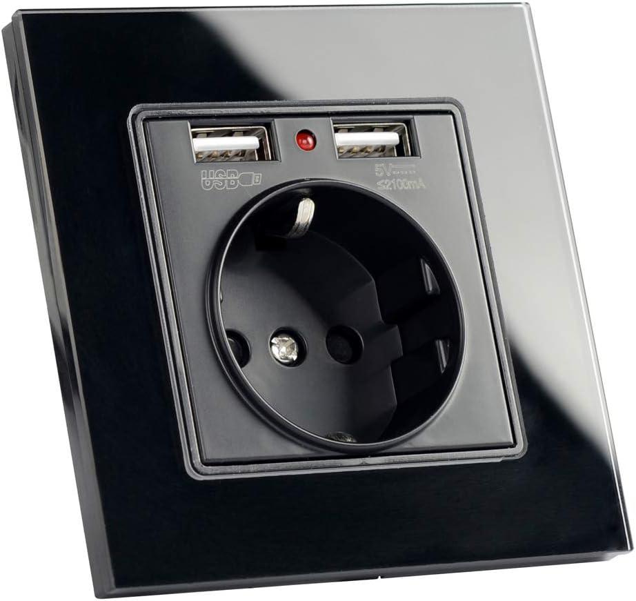 Enchufe de Pared Enchufe del Cargador USB de Cristal 2A Dual SILENTLY El Enchufe de alimentaci/ón de la Pared de la UE Socket con Salida USB 16A 2100mA de Pared el/éctrico del z/ócalo de energ/ía,Oro