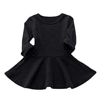 Amazon Feitong Baby Girl Dresses Candy Color Long Sleeve Solid