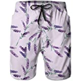 QWESSD Lavender Pattern Men's Swim Trunks Beachwear