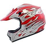 TMS Youth Kids Red Flame ATV Motocross Dirt Bike Off-Road MX Gear Helmet DOT (Small)
