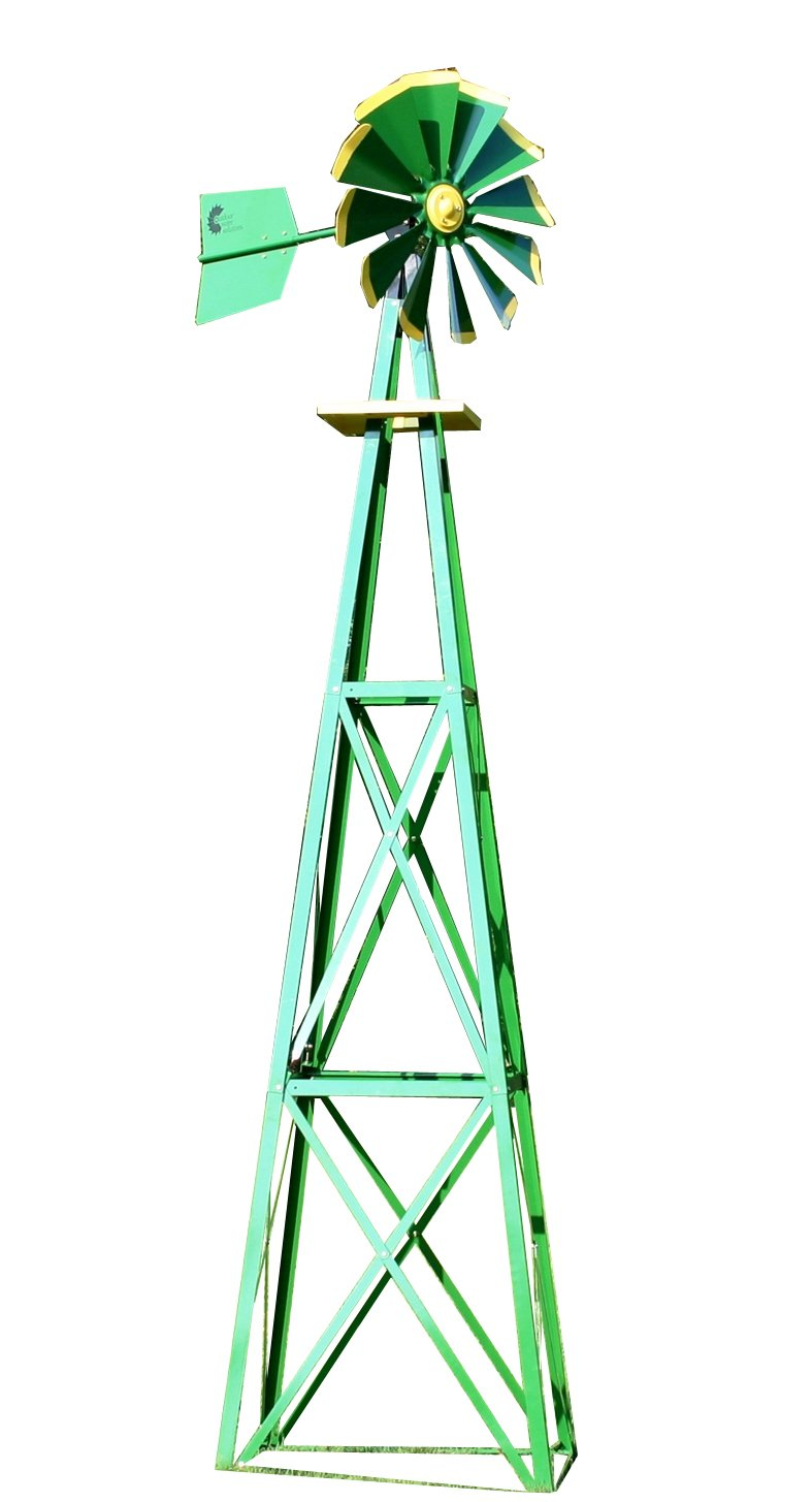 Outdoor Water Solutions BYW0129 Large Green and Yellow Powder Coated Backyard Windmill by Outdoor Water Solutions