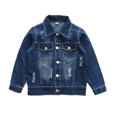 Abetteric Boys Buttoned Cardigan Faded Ripped-Holes Trucker Coat Denim Jackets