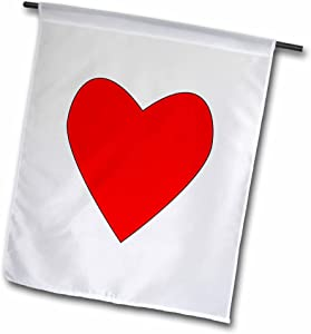 "3dRose Heart Red - Garden Flag, 12 by 18"""