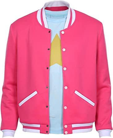 Steven Universe Bomber Jacket Future Unisex Pink Top Cosplay Comfortable Coat Front White Stripes Halloween Crystal Gem Hybrid Gift Outwear