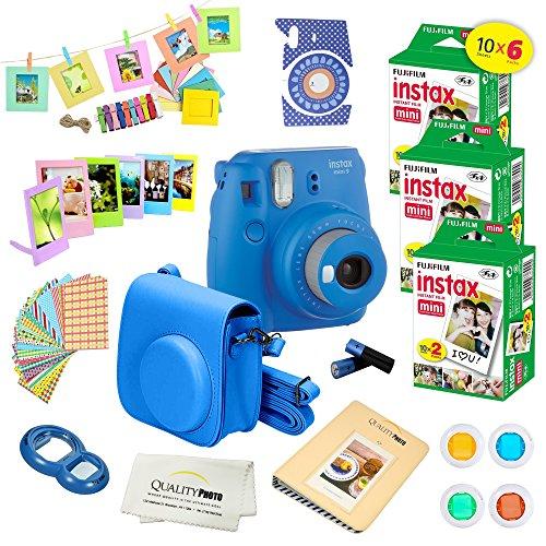 (Fujifilm Instax Mini 9 Instant Camera COBALT BLUE w/ Fujifilm Instax Mini 9 Instant Films (60 Pack) + A14 Pc Deluxe Bundle For Fujifilm Instax Mini 9 Camera)