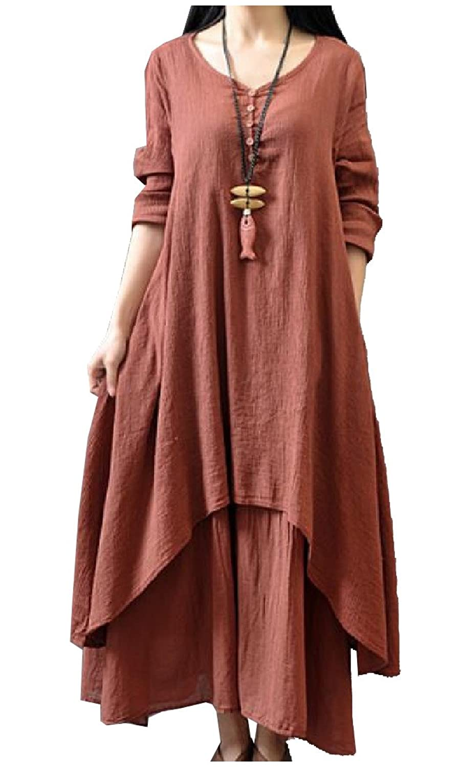 Abetteric Women Casual Long Sleeve Linen Fake-two V-neck A-line Maxi Dress