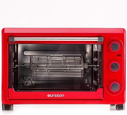 oursson mini four electrique 26 litres thermostat reglable jusqu a 230 c 4 modes de cuisson 8 accessoires 1500 watts rouge