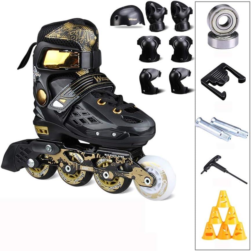 スケート子供インラインプロフェッショナルファンシースケート初心者フルセットローラースケート大人調節可能ホワイトブラック (Color : C, Size : M-EU-(34-37)) C M-EU-(34-37)