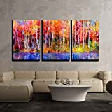 abstract tree painting - wall26 - 3 Piece Canvas Wall Art - Oil Painting Colorful Autumn Trees. Semi Abstract Image of Forest, Aspen Trees with Yellow - Modern Home Decor Stretched and Framed Ready to Hang - 24
