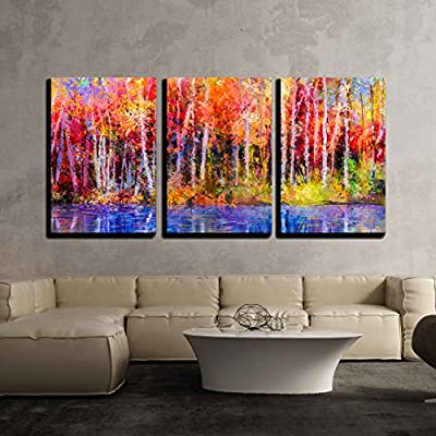 3 Piece Canvas Wall Art - Oil Painting Colorful Autumn Trees. Semi Abstract Image of Forest, Aspen Trees with Yellow - Modern Home Art Stretched and Framed Ready to Hang - 24