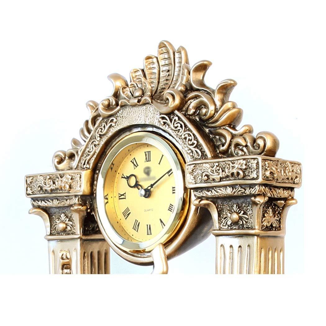 HONGNA European Mute Resin Clock Clock Lucky Town House Elephant Pendulum Clock Retro Quartz Table Clock Living Room Creative Desktop Decoration Clock (Color : B) by HONGNA (Image #4)