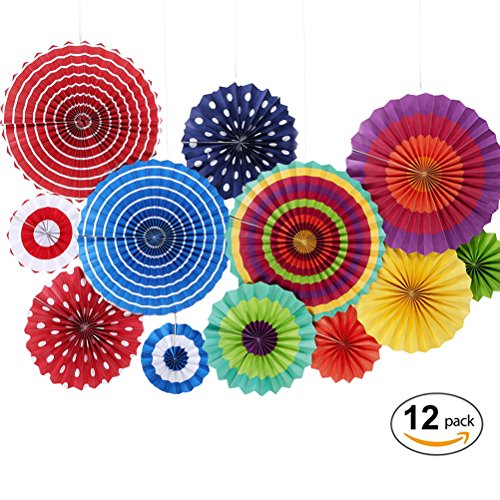 MOWO Fiesta Paper Fans, Colorful Round Party Fans, Hanging Decor Home Decor Supplies Favor (assorted color, 12 (Christmas Wall Decoration Ideas)