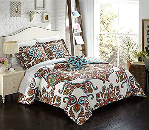 (Chic Home 4 Piece Feinch Large Scale Bohemian Paisley Reversible Printed with Embroidered Details. Queen Duvet Cover Set Blue)