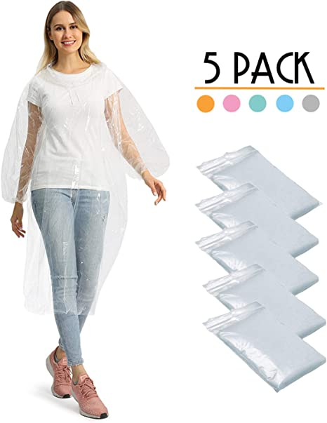 FANSIR Disposable Rain Poncho Waterproof Pac a Mac with Hoods Perfect for Camping Festivals and Hiking Pack of 5 Emergency Ponchos